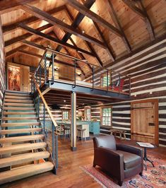 A modern mountain home using chinking & caulking within it's walls.
