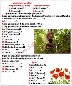 pembe arı 2 — Postimage.org Crochet Dolls Free Patterns, Crochet Animals, Applique, Charts, Stuffed Animal Cat, Free Pattern, Manualidades, Tricot, Crocheted Animals
