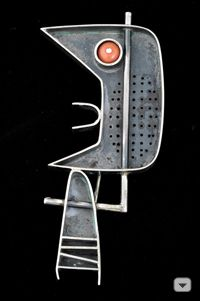 Earl Pardon Brooch, 1952  sterling silver, coral