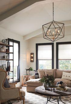 Entryway Light Fixtures, Entryway Chandelier, Living Room Light Fixtures, Entryway Lighting, Chandelier In Living Room, Home Lighting, Square Chandelier, Modern Lighting, Vaulted Ceiling Lighting