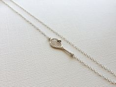 Tennis Racket Necklace in Sterling Silver by VaraJewels on Etsy