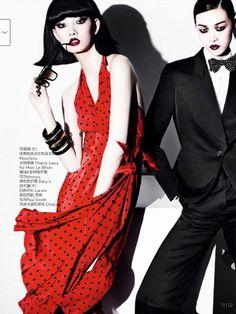 'Members Only' Starring Xiao Wen Ju, Tian Yi & Cici Xiang in Vogue China March 2014 by Mario Testino