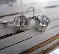 White Topaz Lacey Earrings by HotRoxCustomJewelry on Etsy, $99.00