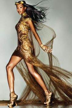 Naomi Campbell in a bespoke Alexander McQueen  piece created by Sarah Burton for the London Olympic Closing Ceremony.