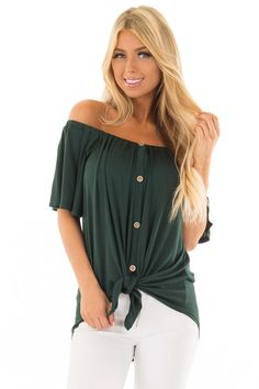 1916419d3da9b2 Hunter Green Off the Shoulder Top with Button Details Green Jeans Outfit,  Boutique Tops,