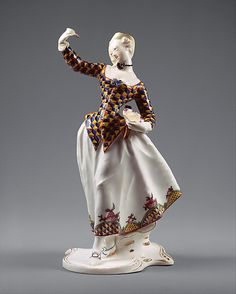 """yeshistoryofart: """" Harlequina Franz Anton Bustelli ca. 1763 Hard-paste porcelain Met Museum """" """"Come dance!"""" Both figurines are from the Italian commedia dell& a group of traveling. Fancy Dress, Dress Up, Masquerade Costumes, Historical Clothing, Porcelain Ceramics, Porcelain Doll, Metropolitan Museum, Art History, Art Deco"""