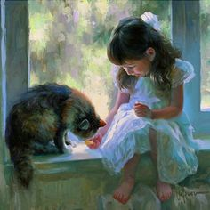 I love this painting by Vladimir Volegov. It reminds me of becky and our cat. The background window scene is beautiful.
