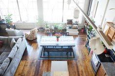 Thoey & Sutty's Southeast Asian-Inspired Loft in Oakland//ideal kitchen and living room