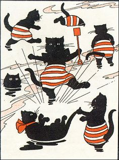 Black Cats In Striped Bathing Trunks Enjoying the Water-Vintage Illustration