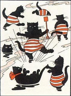Black Cats In Striped Bathing Trunks Enjoying the Water-Vintage Illustration