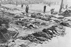 "The Soviet secret police (NKVD) routinely massacred political prisoners as the Germans approached yet another city. Here, hundreds of corpses lay next to the execution field after the NKVD liquidated the city's prison population in Lvov, Ukraine (called ""Lemberg"" by the Germans) in July 1941."