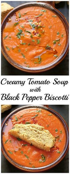 Creamy Tomato Soup with Black Pepper Biscotti - so flavorful and SO healthy!