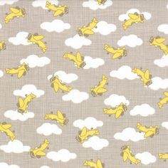 Story Book - Airplanes in Stone Banana (13115 14) // Juberry Fabrics