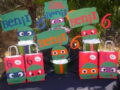 Ninja Turtle Birthday Package,5 Centerpieces, 20 Treat Bags Personalized on Etsy, $70.00