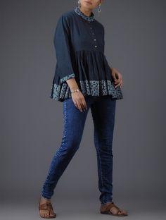 2db2896678a64 Buy Blue Ivory Block printed Mandarin Collar Cotton Top with Gathers Women  Tops The Script kurtas