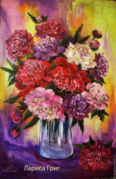 """Купить """"Солнечные пионы"""" - картина акрилом - комбинированный, пионы букет, цветы, картина в подарок"""