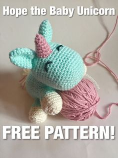 Free, easy amigurumi baby unicorn pattern.