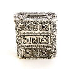 925 Sterling Silver Filigree Tzedakah Box Charity Box by adiaart, $520.00