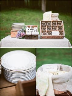 Buffet table with Something Borrowed Portland's soda crate, sewing drawers and mismatched plates. Styled by PETALOS, shot by Jon Duenas and paper goods by Paper Bloom. Wedding Pins, Farm Wedding, Chic Wedding, Wedding Events, Rustic Wedding, Wedding Reception, Weddings, Wedding Decorations Pictures, Table Decorations