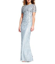 Adrianna Papell Ombre Sequin Short Sleeve Gown #Dillards