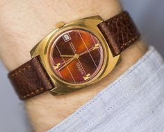 Burgundy men's watch gold plated Vostok wristwatch by SovietEra