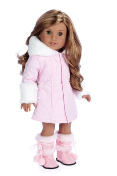 Doesn't your doll look sweet and cute like a cotton candy in this beautiful, warm and cozy parka? It also has a matching ivory dress underneath and pink boots.    Doll outfit contains a wide back closure for easy dressing and clothing removal. Our doll clothes fits 18 inch American Girl dolls. Designed in the USA and sold Exclusively by DreamWorld Collections. DOLL(S) NOT INCLUDED U.S. CPSIA CHILDREN'S PRODUCTS SAFETY CERTIFIED