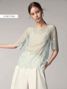 Opal Color, Tunic Tops, Lace, Detail, Natural, Shirt, Women, Fashion, Fall Winter