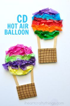 This CD Hot Air Balloon Craft is colorful, simple to make and is perfect for a summer kids craft. Great way to recycle an old CD.
