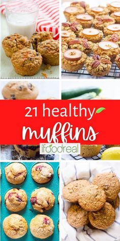 Healthy Muffin Recipes including healthy banana muffins made with ripe bananas, applesauce, whole wheat or spelt flour, and no sugar. They are easy to make in one bowl and perfect for a grab and go breakfast or snack. Healthy Blueberry Muffins, Healthy Breakfast Muffins, Healthy Muffin Recipes, Healthy Baking, Real Food Recipes, Healthy Snacks, Free Breakfast, Healthy Appetizers, Breakfast Ideas