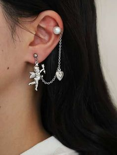 Shop Angel & Heart Chain Ear Cuff at ROMWE, discover more fashion styles online. Angel Heart, Heart Chain, Romwe, Jewelry Accessories, Fancy, Drop Earrings, Crystals, Silver, Stationery