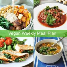 A healthy vegan, plant-based weekly meal planner. 5 delicious dinner recipes that are quick and easy to help you and your family eat healthier.