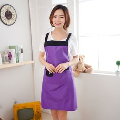 Waterproof Kitchen Apron Oil Proof Apron Household Cleaning Tools & Accessories 6 Colors #Affiliate