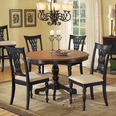 Have to have it. Hillsdale Embassy 5 pc. Dining Set with 48 Inch Pattern Veneer Wood Top-Cherry & Black - $849.99 @hayneedle