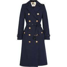 Burberry London Cotton-gabardine trench coat (37,395 MXN) ❤ liked on Polyvore featuring outerwear, coats, blue, trench coat, double breasted trench coat, double-breasted coat, blue coat and burberry