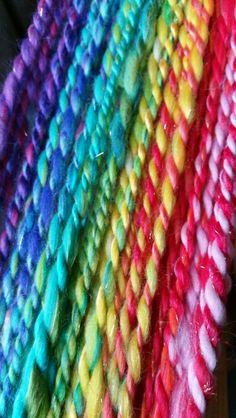 Rainbow handspun yarn by monique van Groningen