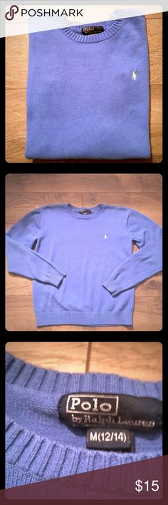 Kids Polo blue sweater size 12/14 Kids blue polo sweater size 12/14 great condition Polo by Ralph Lauren Shirts & Tops Sweaters