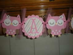 Baby Shower Its A Girl Owl Theme Welcome Baby Banner by PartysOn, $24.00
