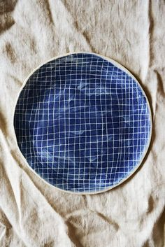 blue ceramic plate