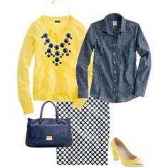 Chambray, yellow sweater, Navy Dot Skirt & statement necklace :)