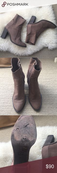 EUC- Free people tan boots Gorgeous boots! In excellent shape!  Genuine soft leather  Distressed heel look Tiny minuscule speck in the front (see 7th picture) Made in Portugal Free People Shoes Heeled Boots