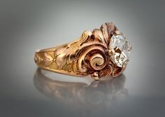 engagement rings vintage bling This Art Nouveau rose gold engagement ring was made in Moscow, Russia between 1908 and Art Nouveau Ring, Art Nouveau Design, Art Nouveau Jewelry, Antique Wedding Rings, Antique Rings, Antique Jewelry, Victorian Jewelry, Antique Art, Vintage Rings