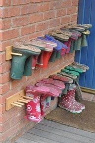 Boot storage ideas (for back deck / porch) We'll need this for sure!!