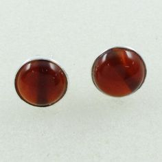 Red Onyx Stone Pretty look Round Shaped 925 Sterling Silver Earrings Studs by JaipurSilverIndia on Etsy