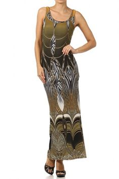 95 percent Polyester 5 percent Spandex 1S/1M/1L Per Pack Olive (shown) This HIGH QUALITY dress is BEAUTIFUL!! Made from a very soft and smooth fabric, this adorable printed maxi dress with a slit detail and a low back is hand washable, and fits true to size.