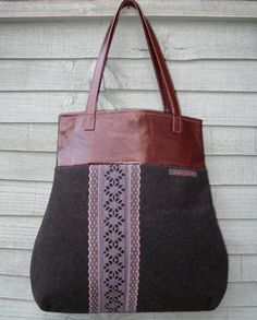 Wool and Leather Tote Bag. combine with crochet and key leather and lace bag.