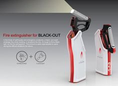 The Extinguisher For Black Out is a design that integrates a flashlight and fire extinguisher into the same body. I think the idea is superb; in an emergency, especially during a fire evacuation, you will need a flashlight and an extinguisher! In any case the flashlight is detachable, so this design makes complete sense. What do you think?: