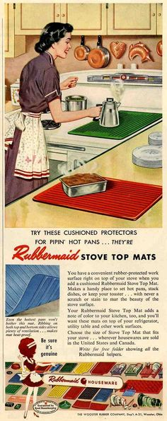 """1952 ad for Rubbermaid mats (from """"20 interiors from 1952: The end of the 1940s"""")"""