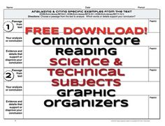 FREE Common Core Science RST.1 and RST.2 Graphic Organizers