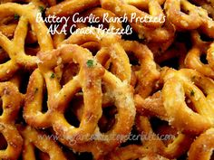 Buttery Garlic Ranch Pretzels: 16 oz. bag Mini Pretzels 4 oz. Orville Redenbacher Buttery Flavor Popcorn Oil 1 oz. package Hidden Valley Ranch Dip Mix (Original) 3 tsp garlic powder Coat pretzels with the oil,toss with dry ingredients. Bake @ 250 for 15-20 min.