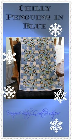 Chilly Penguins in Blue a handmade baby quilt for boys from Unique Baby Quilt Boutique http://shop.uniquebabyquiltboutique.com/